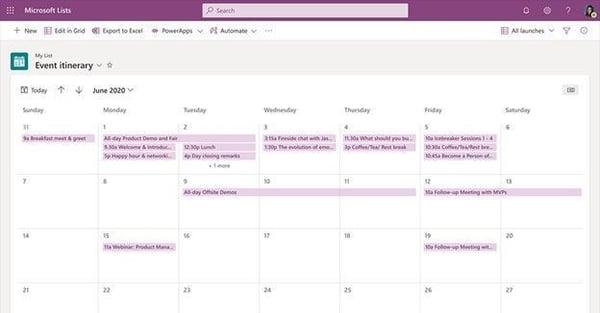 MSLists-Calendar View