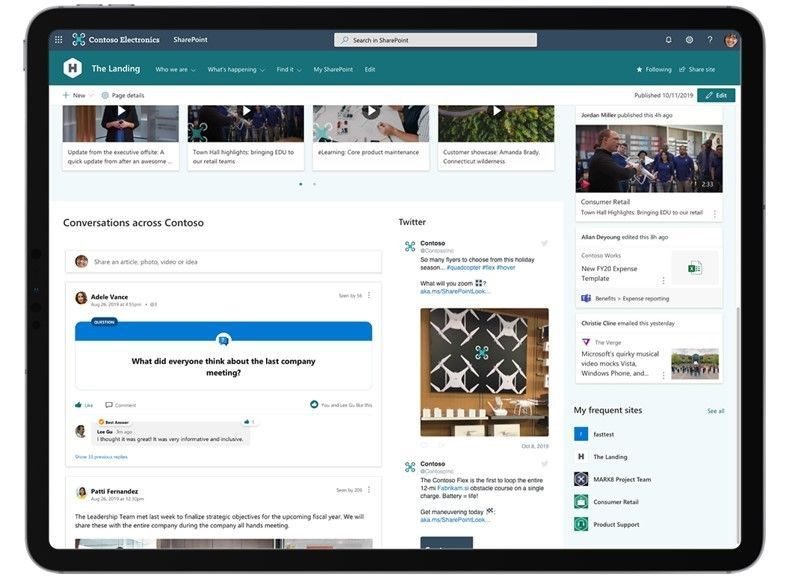 Screenshot of Yammer SharePoint Web part