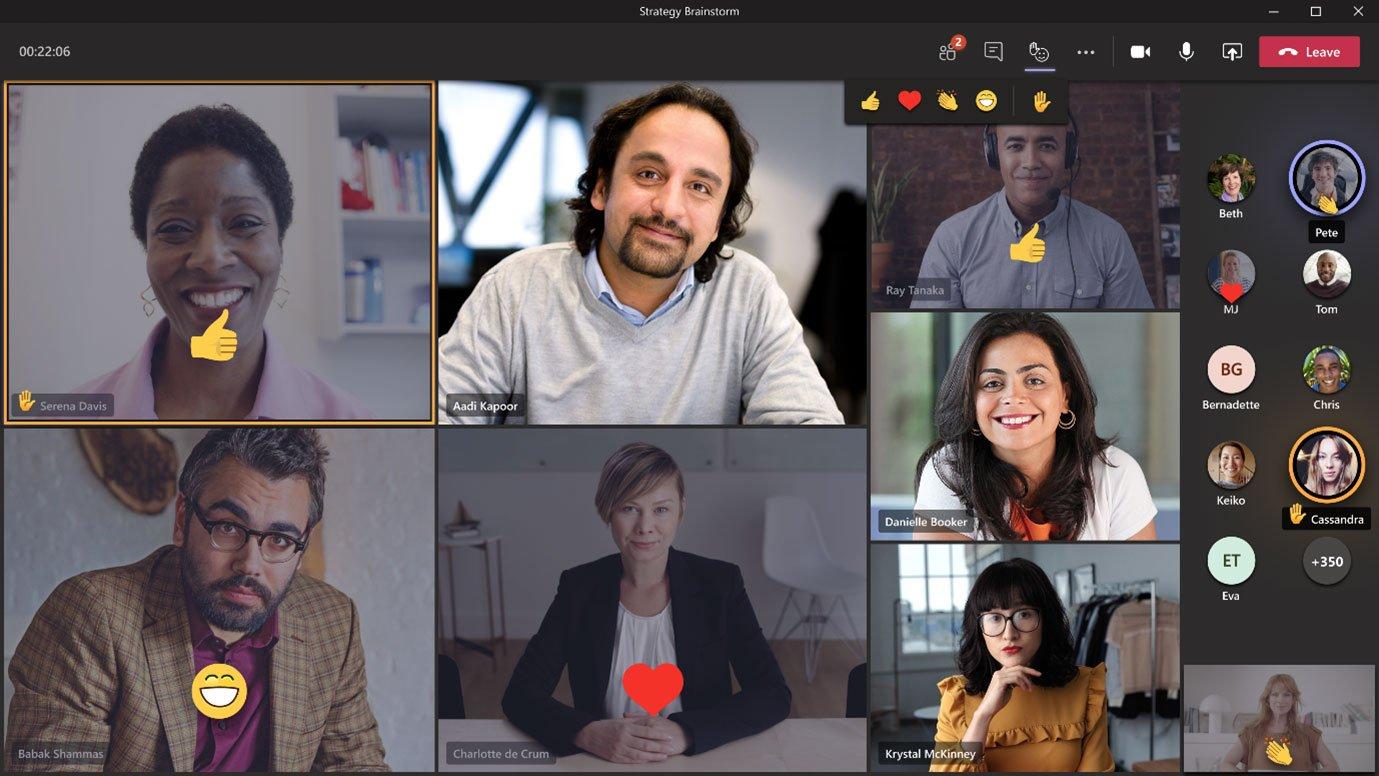 Reactions in Teams meetings